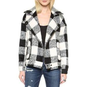 JOA   B/W Buffalo Check Moto Wool Blend Jacket M
